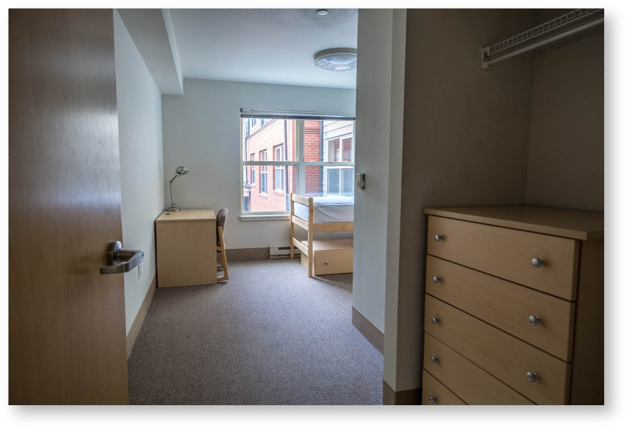 On-campus residence hall room