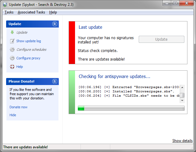 Upon First Run Spybot Should Prompt To Update Click The On Proceed With Getting Latest Spyware Definitions