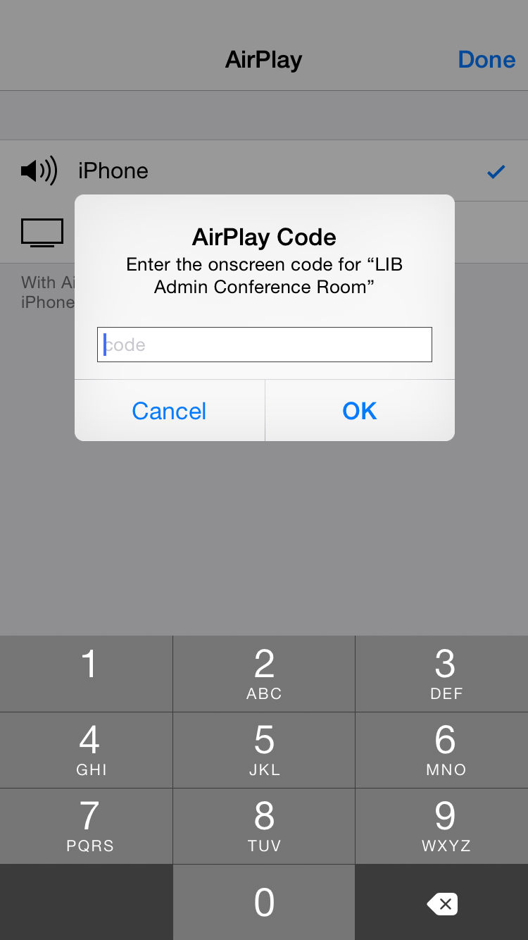 Four digit code page on iPhone