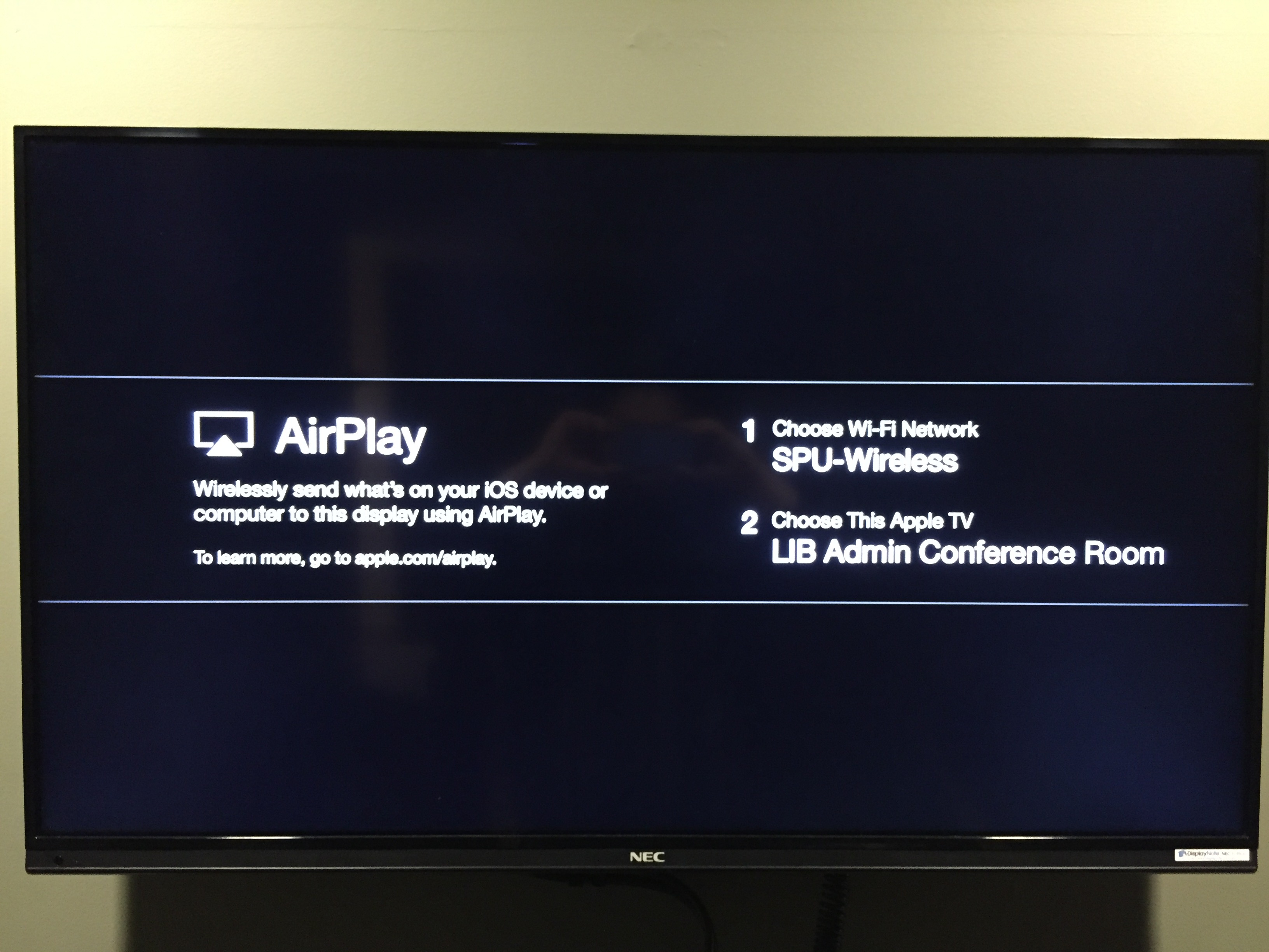 Apple Tv Instructions For Library Study Rooms Library Tech