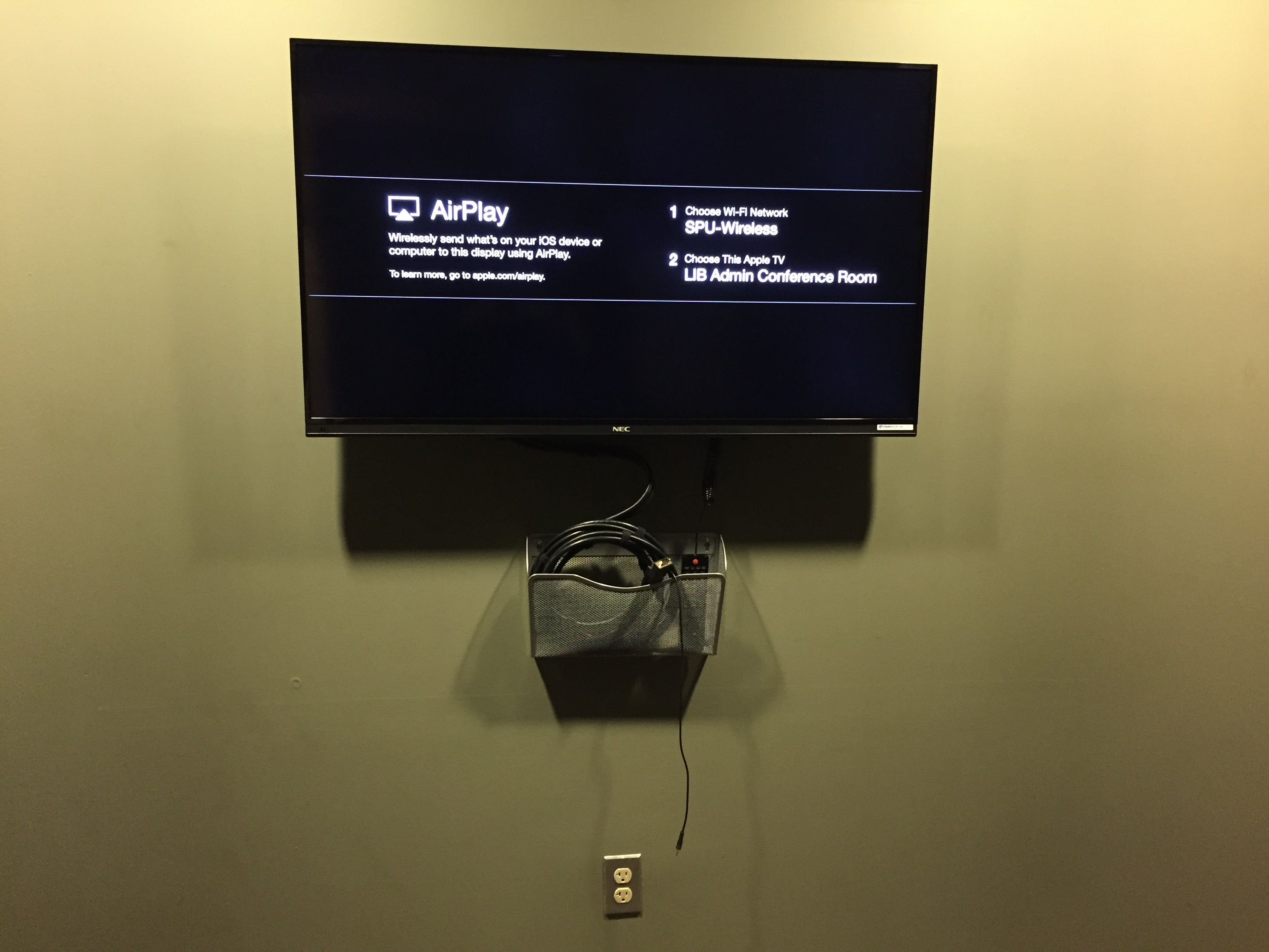 Apple TV and TV in one of the study rooms