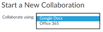 dropdown menu to choose between using Google Docs or Office365 for collaborations