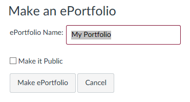 pop-up window that prompts yu to name your new ePortfolio