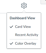 switch between dashboard views by clicking the settings icon