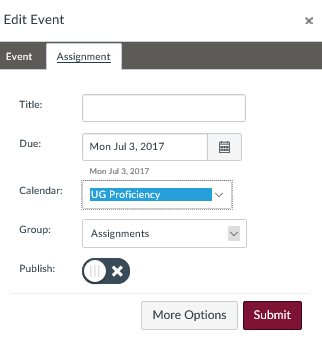 new assignment pop-up window in calendar